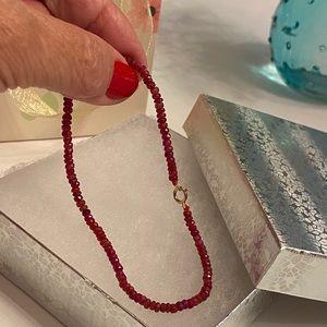 Ruby 14K Gold Clasp Strand Bangle Bracelet